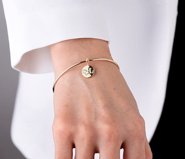 Gold zodiac sign bracelet bangle