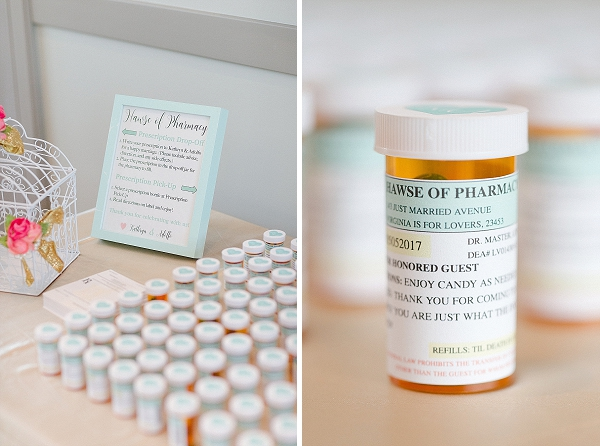 Cute DIY prescription pill bottle wedding favors for pharmacy couple