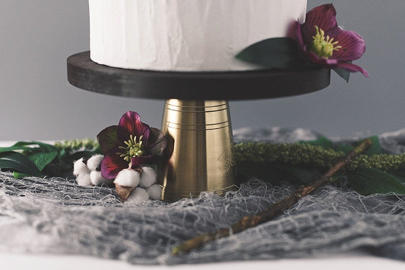 Vintage rustic inspired wedding wooden cake stand with gold base