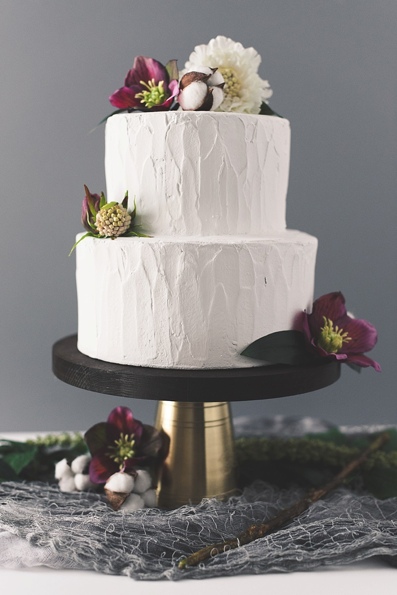 Mixed media wedding cake stand with wood and brass metal for a unique handmade detail