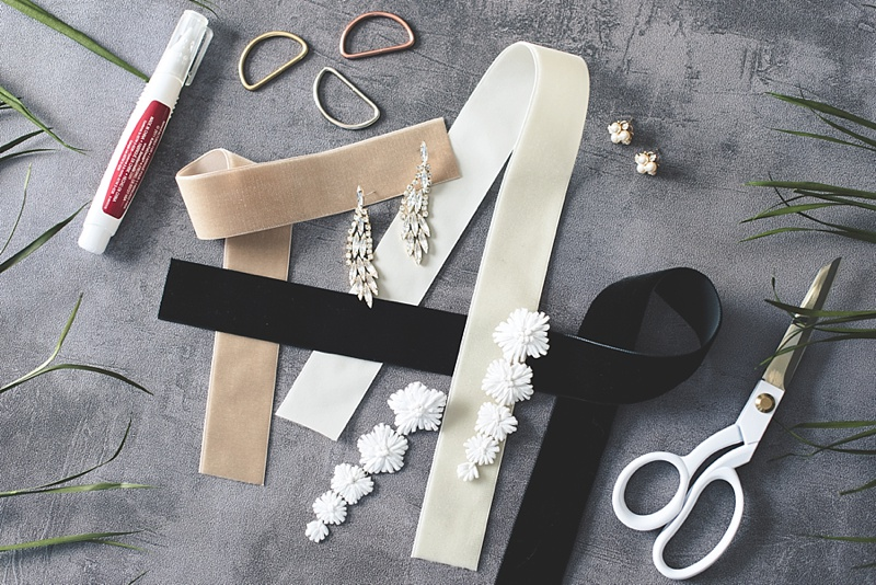 Materials for making a velvet ribbon earring tag for wedding jewelry