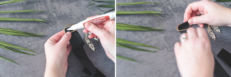 How to make an earring ribbon with velvet for a wedding