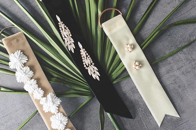 Elegant velvet ribbon tags for bridal statement earrings