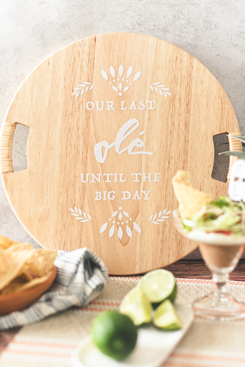 Stylish and chic fiesta inspired wedding or bridal shower sign made with a Cricut machine and a wooden lazy susan
