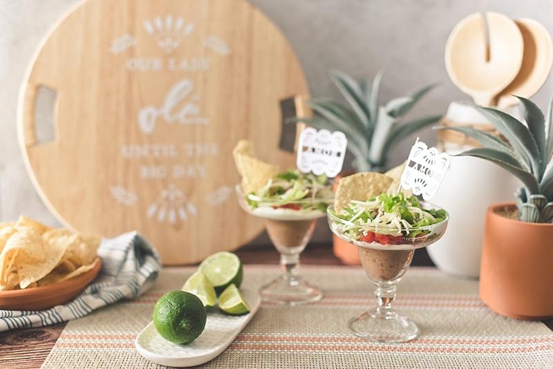 Simple gluten free taco bean dip recipe in margarita glasses