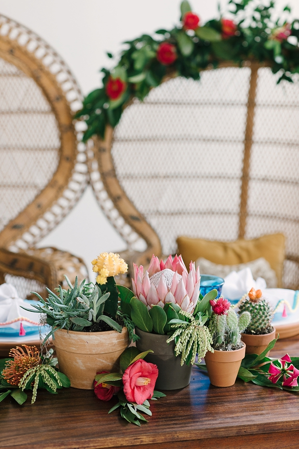 Cactus wedding centerpieces with protea and succulents