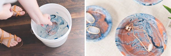 Easy marbled ring dishes with a coastal flair