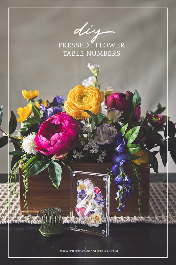 How to make easy acrylic block table numbers with pressed flowers