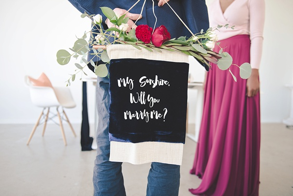 Marriage proposal with a DIY handmade velvet banner