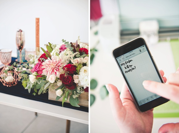 Cricut Design Space App to make a wedding proposal banner