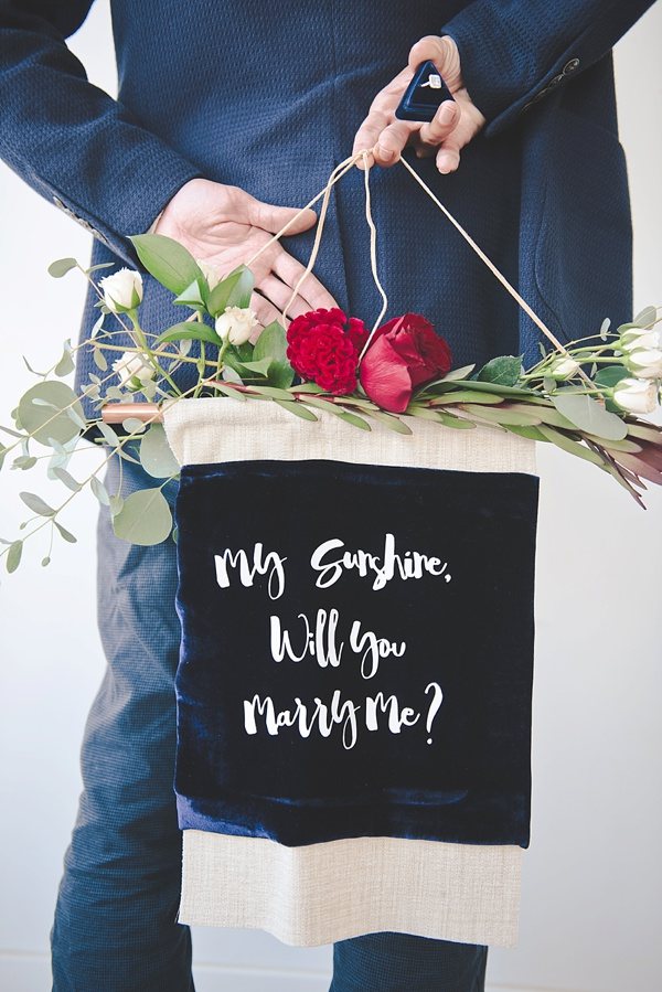 DIY velvet marriage proposal banner using Cricut Air 2