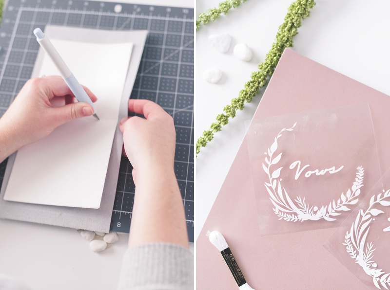 Making a rose gold wedding vow book