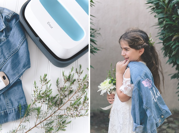 Adorable flower girl with DIY jean jacket made with Cricut EasyPress