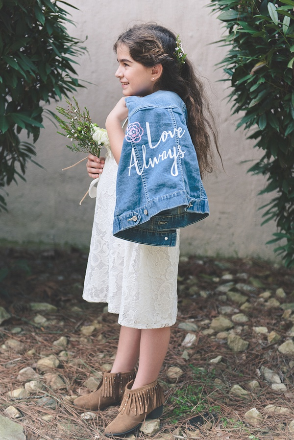 Lace flower girl dress with a cute DIY jean jacket