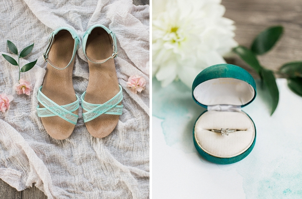 Turquoise bridal shoes by TOMS