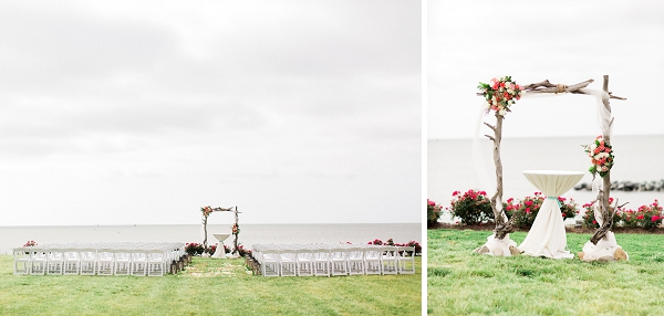 Driftwood arch with flowers for coastal wedding ceremony