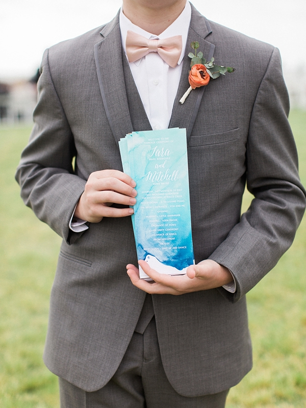 Blue watercolor wedding programs