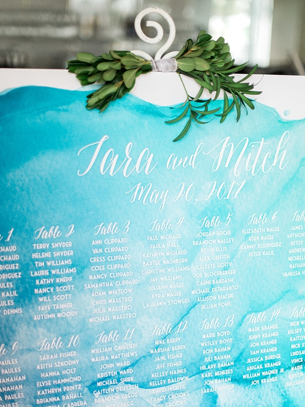 Blue watercolor wedding seating chart for coastal wedding