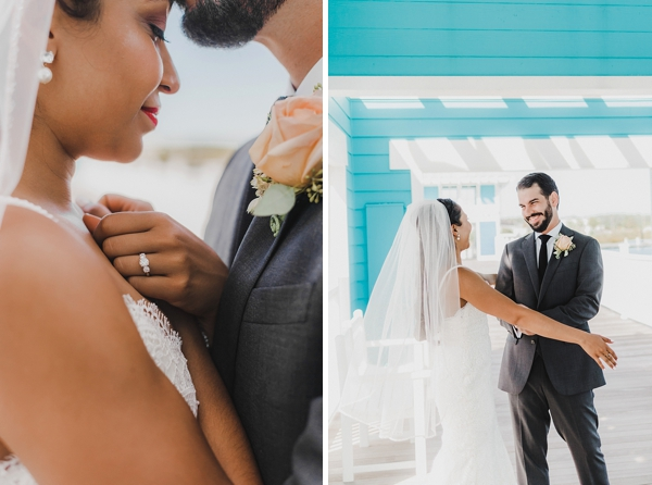 Adorable wedding first look moment in Coastal Virginia