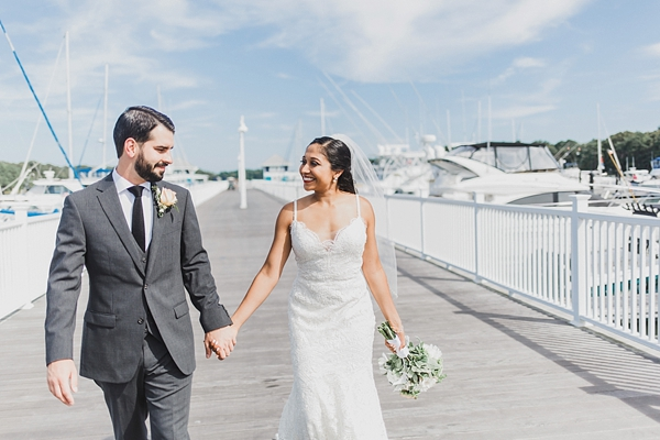 Bride and groom at Oyster Farm at Kings Creek
