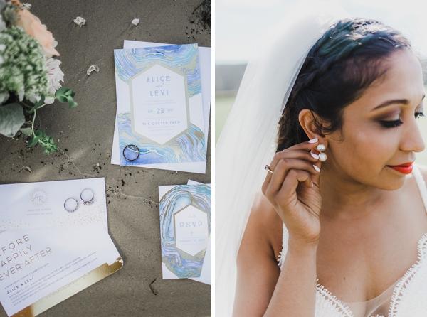 Coastal agate wedding invitations
