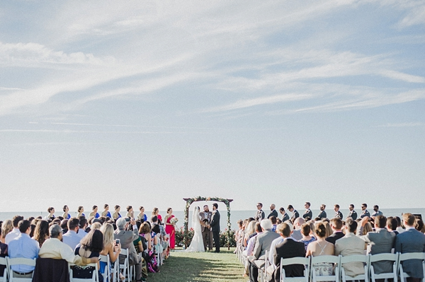 Wedding ceremony at waterside in Coastal Virginia