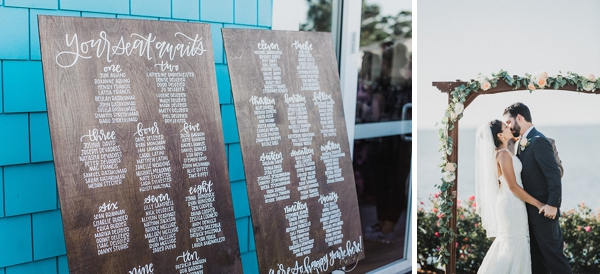 Wooden wedding seating chart with calligraphy