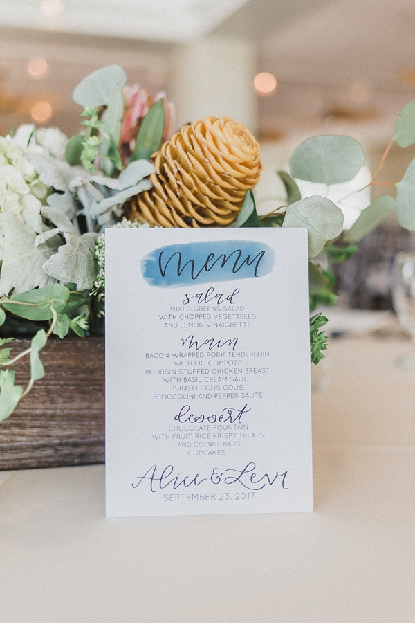 Pretty wedding menu with watercolor blue title