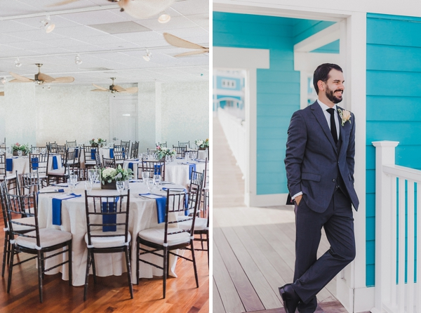 Simple wedding reception with navy blue napkins