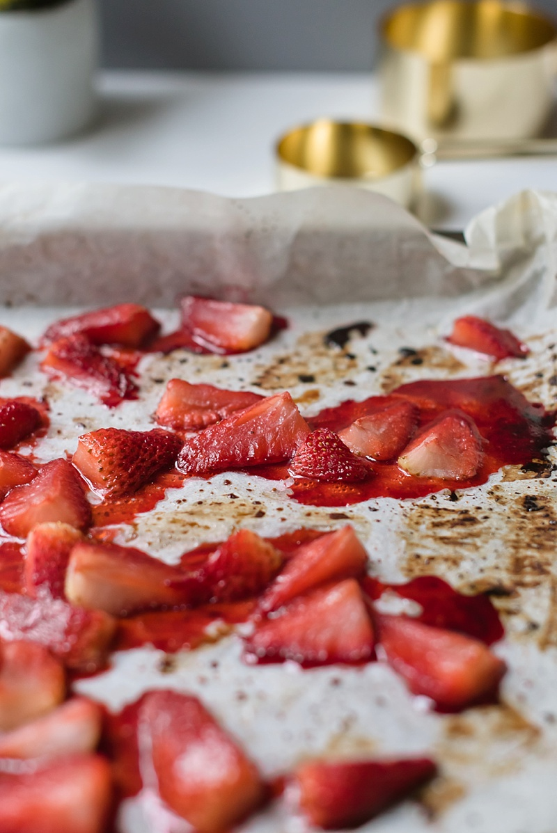 Roasted strawberries for milkshake