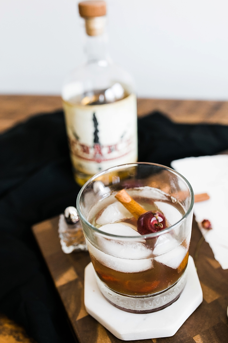 Spiced cherry old fashioned made with Scratch bourbon from Springfield Distillery in Virginia