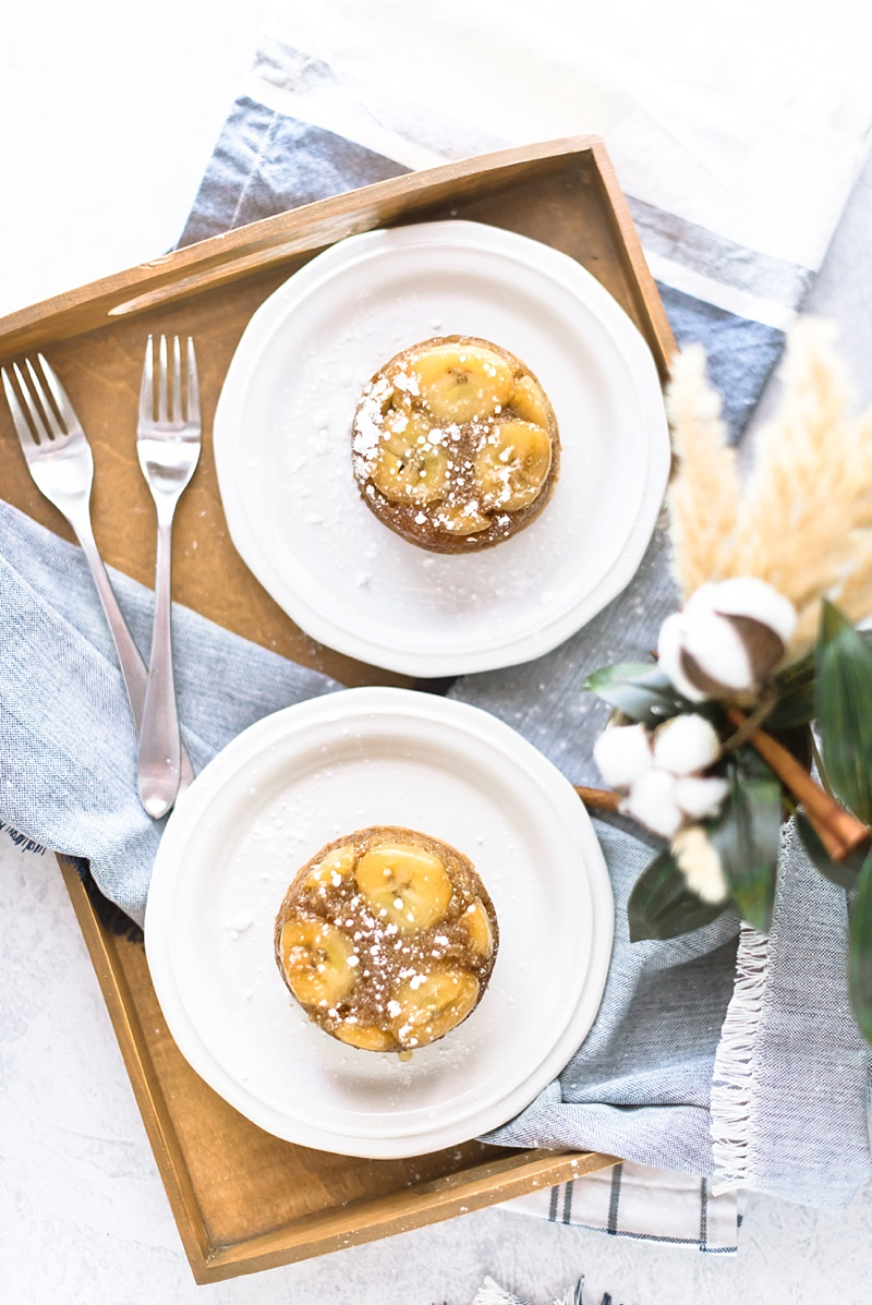 Yummy caramelized banana cakelets with chocolate chips for breakfast in bed idea