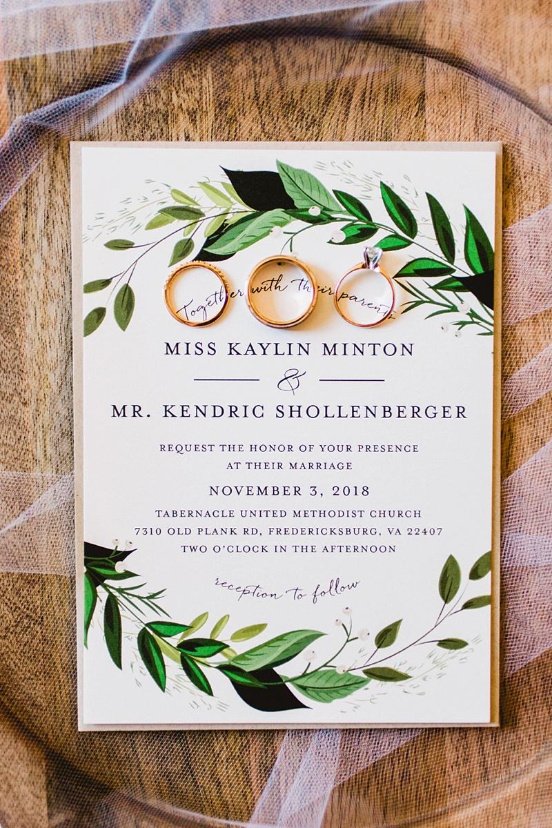 Classic rustic wedding invitation with greenery illustration