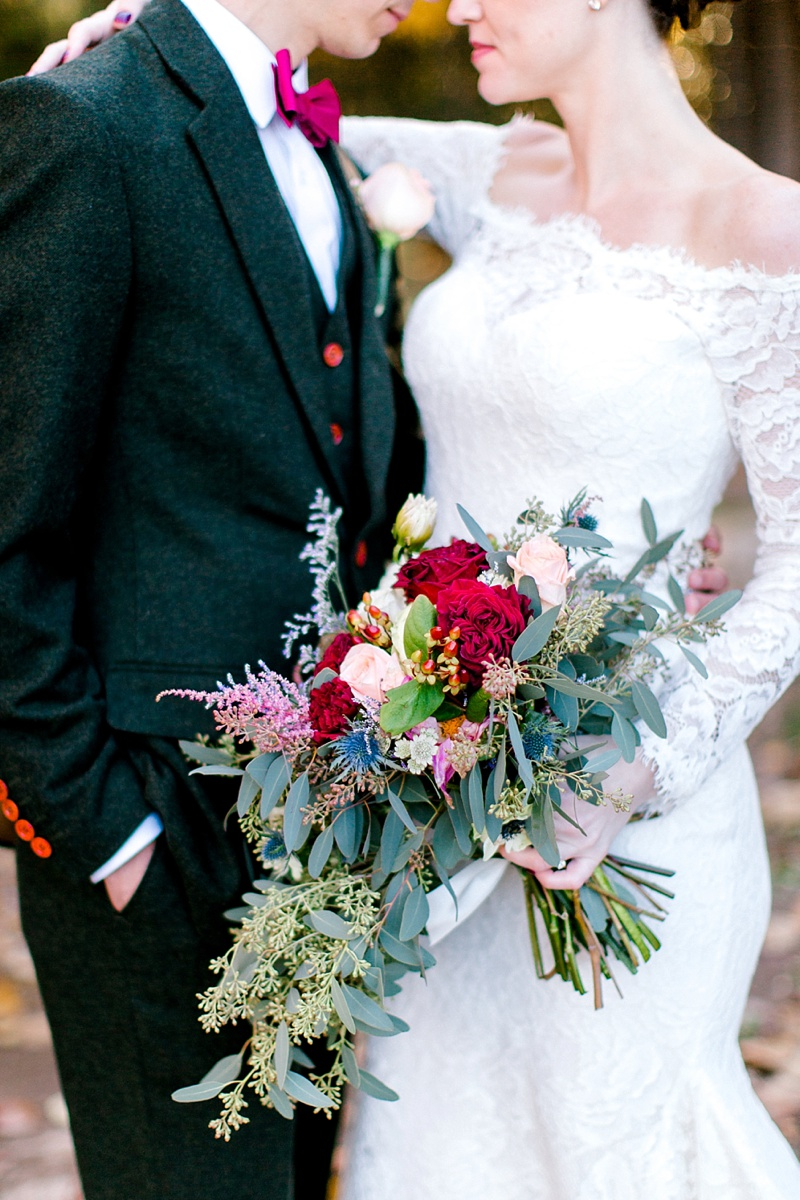 Loose fall bridal bouquet with thistle and eucalyptus
