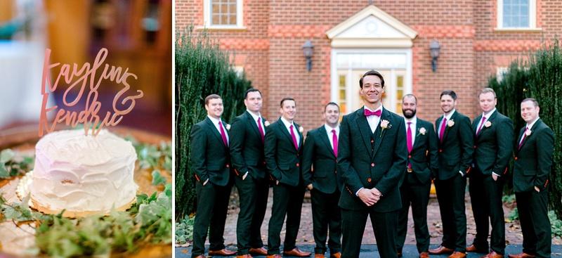 Groomsmen in red bow ties for fall wedding in Virginia