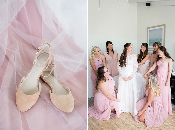 Blush pink bridesmaid dresses and pink suede shoes