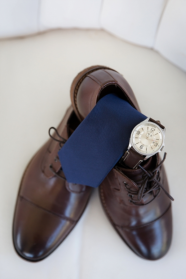 Handsome brown dress shoes for the groom with Fossil watch