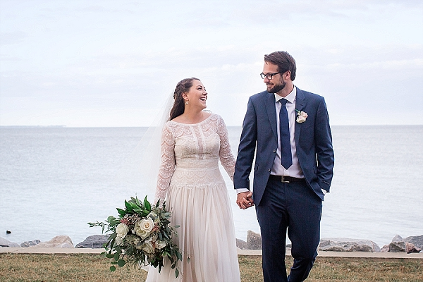 Long sleeved lace wedding dress for rustic waterside wedding