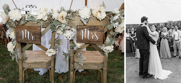Wooden Mr and Mrs sweetheart table chair signs