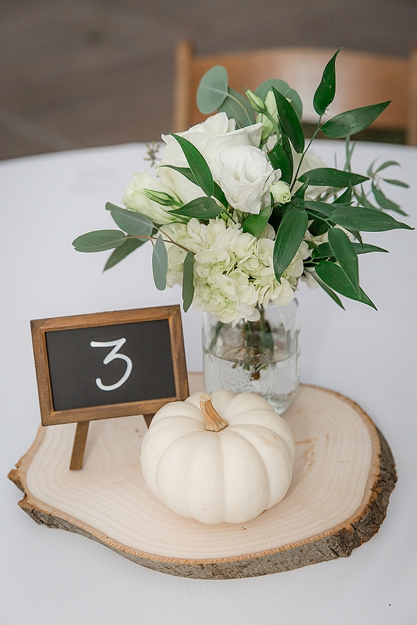 Cute rustic fall wedding centerpieces with mini chalkboards and white pumpkins