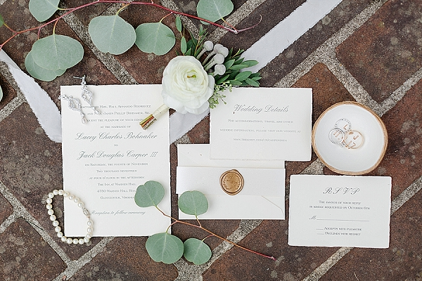 Classic and simple calligraphy wedding invitations with gold wax seal