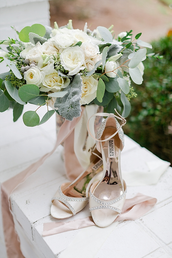 White wedding bouquet with Badgley Mischka sparkly heels