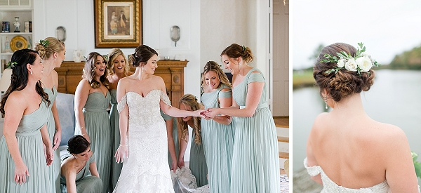 Bridesmaids in mint green dresses