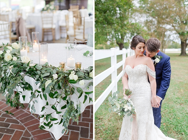 Overflowing organic eucalyptus swag on wedding sweetheart table