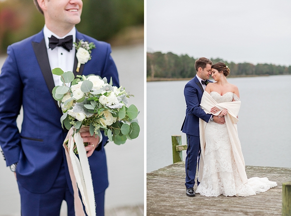 Handsome blue and black Calvin Klein wedding tuxedo