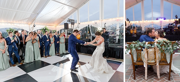Tented wedding reception with black and white checkered dance floor