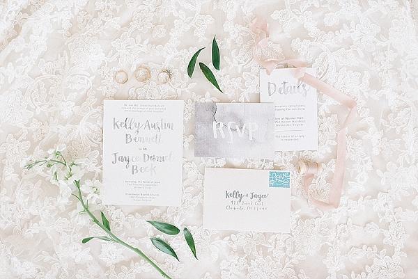 Gray watercolor wedding invitations