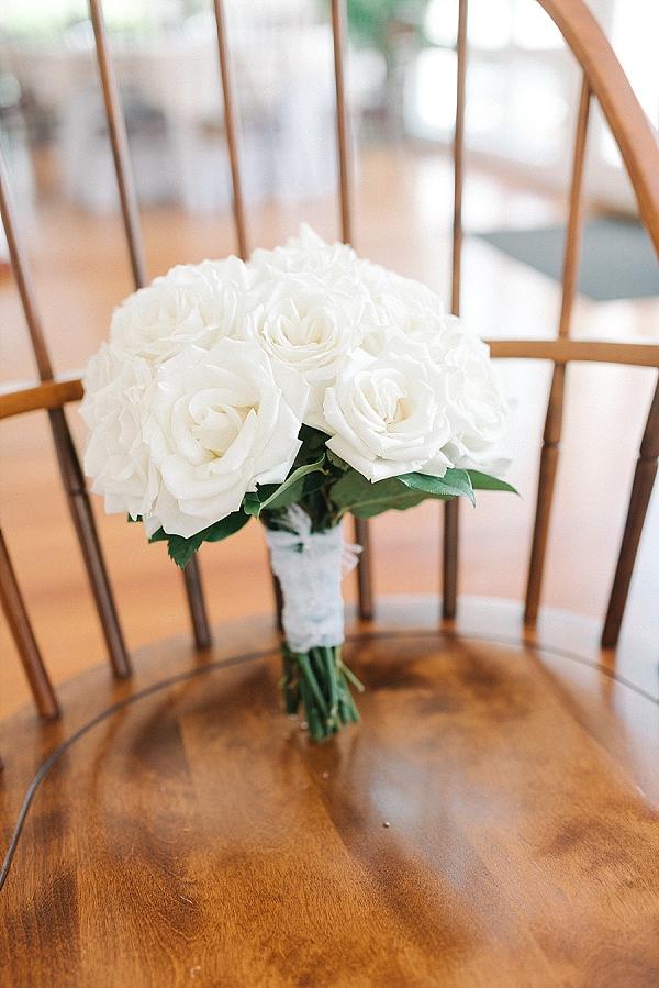 Simple white rose wedding bouquet