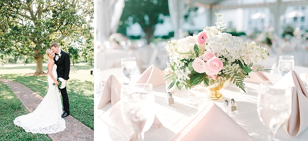 Chic white and pink low wedding centerpieces for summer wedding