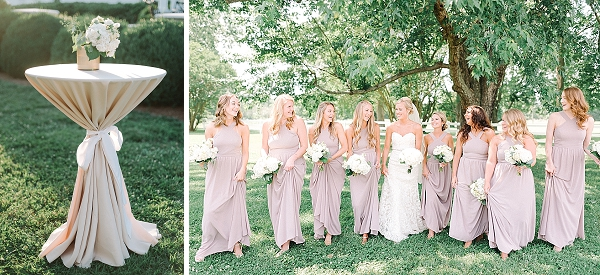 Bridesmaids in lavender purple dresses